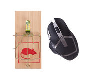 Modern computer mouse in a mousetrap Royalty Free Stock Photo