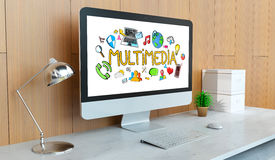 Modern computer with multimedia presentation 3D rendering Royalty Free Stock Photo