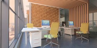 Modern computer office interior with wooden accents and  a beautiful view. 3d rendering stock illustration