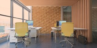 Modern computer office interior with wooden accents and  a beautiful view. 3d rendering royalty free illustration