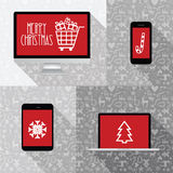 Modern computer, phone, tablet, laptop collection with red scree Royalty Free Stock Photo