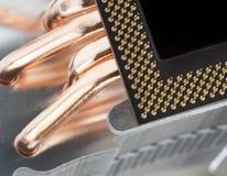 Modern computer processor with big cooler Stock Photos