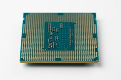 Modern computer processor. Close up, view from above Stock Images