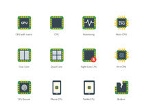 Modern computer processor color icons on white Royalty Free Stock Photography