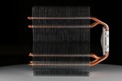 Modern computer processor cooler or radiator or heat sink. Close up Royalty Free Stock Photo