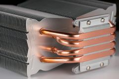 Modern computer processor cooler or radiator or heat sink. Close up Stock Photo