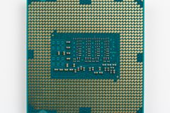 Modern computer processor. Close up, view from above Stock Photography