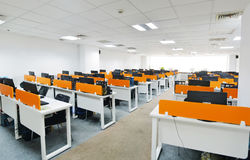 Modern computer room. Big classroom with modern computers Royalty Free Stock Images