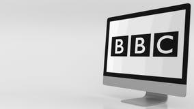 Modern computer screen with BBC logo. 4K editorial clip. Modern computer screen with BBC logo. 4K editorial animation vector illustration