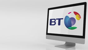 Modern computer screen with British Telecom BT logo. Editorial 3D rendering. Modern computer screen with British Telecom BT logo. Editorial 3D Royalty Free Stock Photo