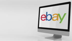 Modern computer screen with Ebay logo. Editorial 3D rendering. Modern computer screen with Ebay logo. Editorial 3D stock illustration