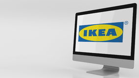 Modern computer screen with Ikea logo. Editorial 3D rendering. Modern computer screen with Ikea logo. Editorial 3D stock illustration