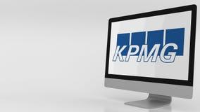 KPMG Logo Against Sky Background, Editorial 3D Rendering
