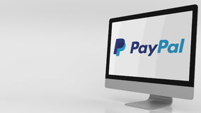 Modern computer screen with Paypal logo. Editorial 3D rendering Royalty Free Stock Photography