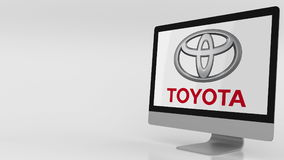 Modern computer screen with Toyota logo. Editorial 3D rendering Royalty Free Stock Image