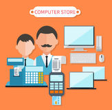 Modern Computer Store Concept Flat Design. Electronic shop, tv retail, keyboard and laptop, dealer and cash register, business technology, sale and marketing Royalty Free Stock Photography