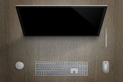 Modern computer touch display for designer. Top view scene with pen, dial, keyboard and mouse Royalty Free Stock Photos