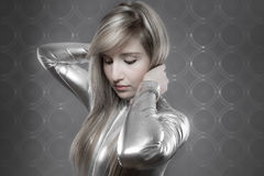 Modern concept, beautiful blonde with silver effects, communicat Royalty Free Stock Photos
