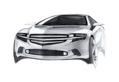 Modern Concept Car Drawing Royalty Free Stock Photos