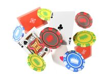 Modern concept of casino games Falling casino chips and aces wit. H blurred elements 3d render isolated on white Royalty Free Stock Images