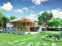 modern concept of construction works the house is assembled by p vector illustration