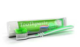Modern concept of the design of a tube of toothpaste toothpaste. Tube with toothbrush 3d render on white vector illustration