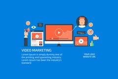 Online media marketing, digital video promotion, audience engagement concept. Flat design vector illustration. Modern concept of digital video marketing, social vector illustration