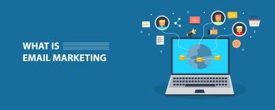 Modern concept e-mail marketing, bulletin die geleverd aan abonnees worden Vlakke ontwerp vectorbanner royalty-vrije stock fotografie