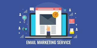 Email marketing, message online chat, social text, business email. Modern concept of email marketing service, email showing on a laptop screen, business email Stock Photography