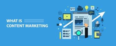 Modern concept inhoud marketing, bevordering, optimalisering Vlakke ontwerp vectorbanner stock afbeelding