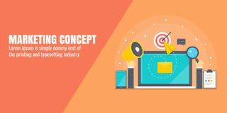 Digital marketing, internet advertising, content promotion, seo, social media marketing concept. Flat design vector banner. Modern concept of internet marketing royalty free illustration