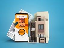 Modern concept krediet in dollars thuis vooraanzicht het 3d teruggeven op blauwe achtergrond met schaduw stock illustratie