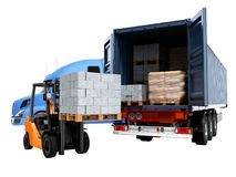 Modern concept of loading and unloading cargo from blue tractor. With truck with building materials and forklift with pallet, isolated 3d render on white royalty free illustration
