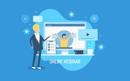 Online webinar, video conference, online video event management, business demonstration on video channel. Flat design banner. vector illustration