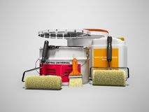 Modern concept paintwork materials with rollers and brushes for repair 3d render on gray background with shadow stock illustration