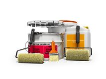 Modern concept paintwork materials with rollers and brushes for repair 3d render on white background with shadow vector illustration