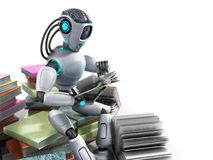modern concept of piece intelligence robot is reading books sitting on a pile of books3d render on white vector illustration