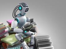 modern concept of piece intelligence robot is reading books sitt Stock Photos