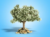 The modern concept of profit from investing in bitcoin 3d render. On blue Stock Photo