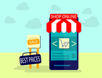 Modern Concept of Purchasing Product Via Internet, Mobile Shopping Communication and Delivery Service. Flat design. Vector Illustration Stock Photos