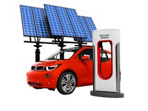 Modern concept red electro car at electric refueling with solar stock illustration