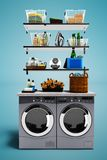 Modern concept set with drying clothes and washing machine for washing clothes with a set of detergents 3d render on blue backgrou vector illustration