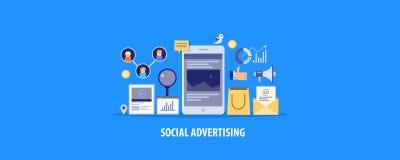 Modern concept sociale media die, gesponsorde inhoud op sociaal netwerk, betaald reclame adverteren Vlakke ontwerp vectorbanner royalty-vrije stock foto's