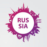 Modern concept Travel to Russia. Russia famous places. Stock Images