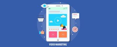 Modern concept website video marketing en bevordering Vlakke ontwerp vectorbanner royalty-vrije stock foto