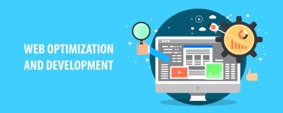 Modern concept websiteontwikkeling, zoekmachineoptimalisering, digitale marketing Vlakke ontwerp vectorbanner royalty-vrije stock afbeelding