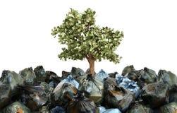 Modern concept winst van het recycling van geldboom die uit o kweken stock illustratie