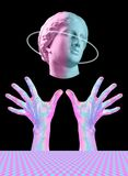 Modern conceptual art poster with ancient statue of bust of Venus and hands. Collage of contemporary art. stock photography