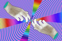 Modern conceptual art poster with a hands in a massurrealism style. Contemporary art collage. stock images