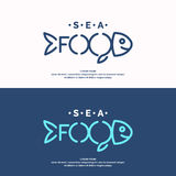 Modern conceptual set of vector logos sea food with fish. Royalty Free Stock Images